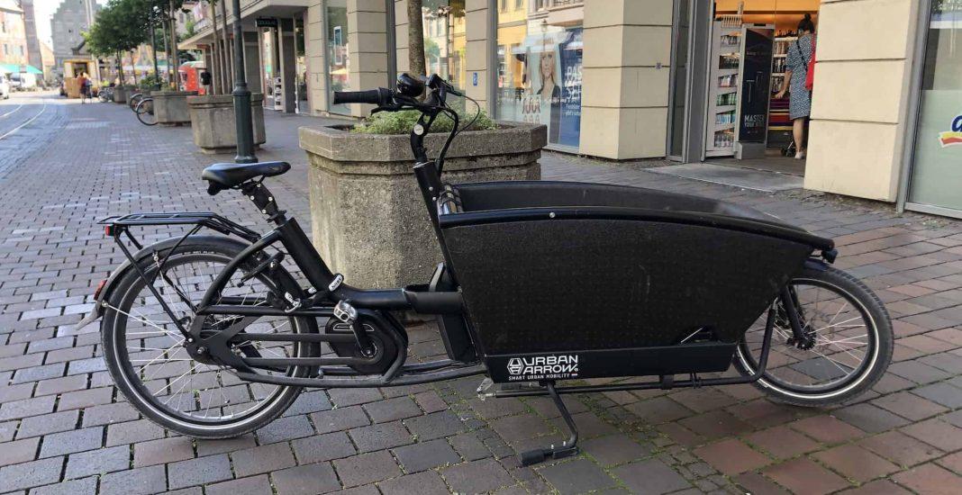 Bildrechte: Michael Brecht - E-Lastenrad für den Transport der Einkäufe in der Augsburger Innenstadt