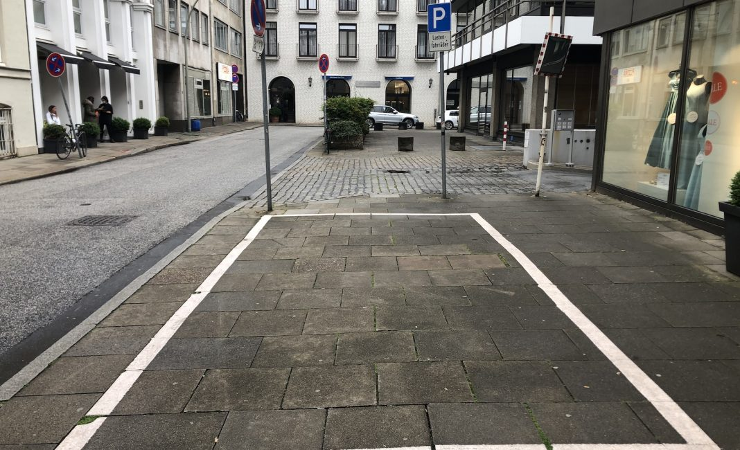 Bildrechte: Michael Brecht - Stellplatz für E-Lastenräder am Jungfernstieg unweit der Binnenalster